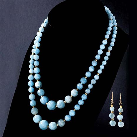 Maré Aquamarine Necklace & Earrings Set