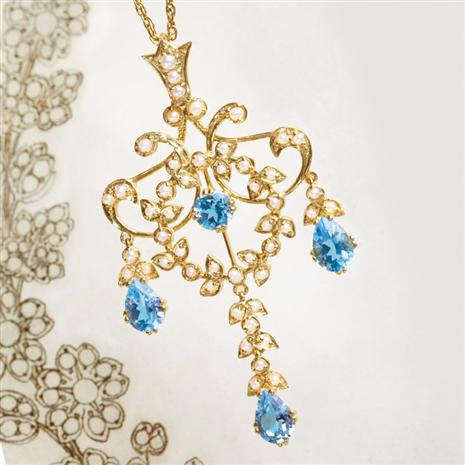 Bertuzzi Blue Topaz & Seed Pearl Necklace