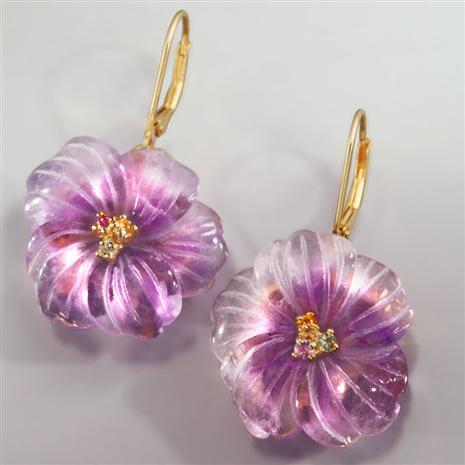 Florista Carved Amethyst Earrings
