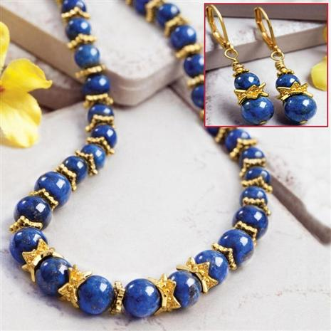 LATITUDE LAPIS NECKLACE & EARRINGS SET