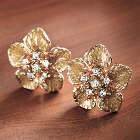 Epiphany Golden Flower Earrings Stauer Online Discount