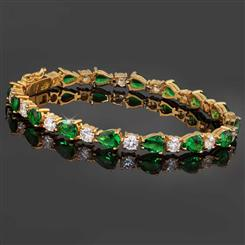 14K Gold Finished Helenite & Diamondaura Bracelet