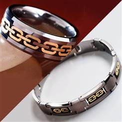 Mens Tungsten Ring & Bracelet Set