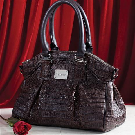 Genuine Crocodile Handbag (Brown)