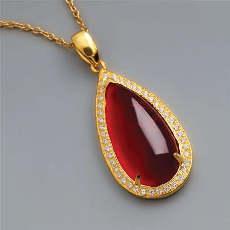 Scarlet Red Helenite Necklace