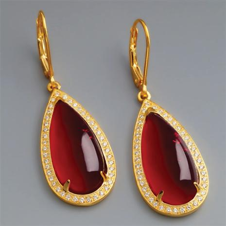 SCARLET RED HELENITE EARRINGS