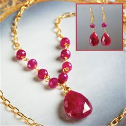 Forever Ruby Necklace & Earrings Set
