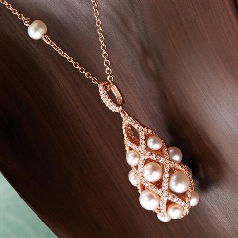 Lattice Freshwater Pearl & Diamondaura® Pendant