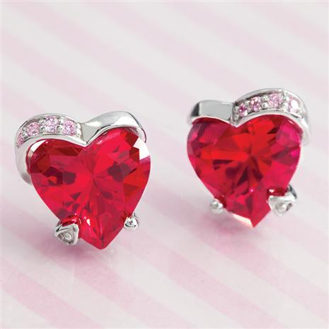 LAB-CREATED RUBY & DIAMONDAURA® HEART EARRINGS