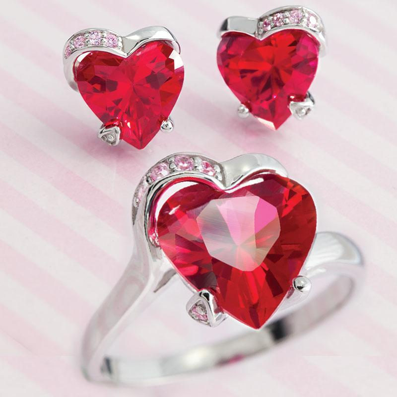 Scienza® Ruby & Diamondaura® Heart Ring & Earrings Set