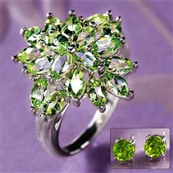 Peridot Sunburst Ring & FREE Earrings