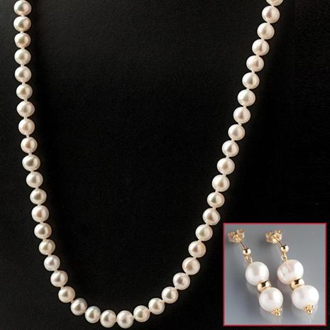 Aria Cultured Pearl Necklace & Earrings Set