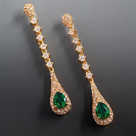 SCIENZA LAB CREATED EMERALD MAJESTIC EARRINGS