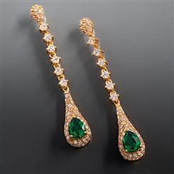 Scienza Lab-created Emerald Majestic Earrings