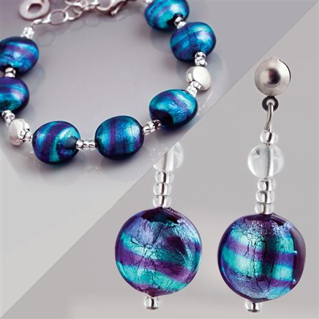 Azzurro Murano Bracelet & Earrings Set Stauer Online Discount