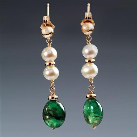 Delfina Emerald & Cultured Pearl Earrings Stauer Online Discount