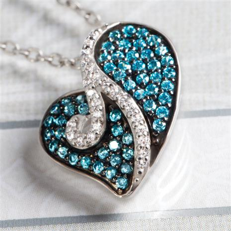 BELLA BLUE DIAMOND HEARTS PENDANT