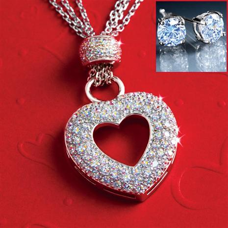 Amoretti Diamondaura Necklace & Earrings Set Stauer Online Discount
