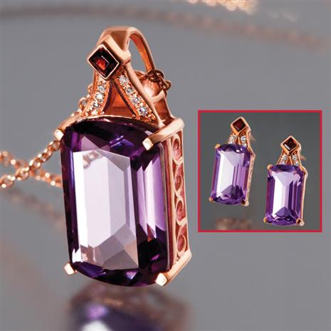Artesia Amethyst Necklace & Earrings Set Stauer Online Discount