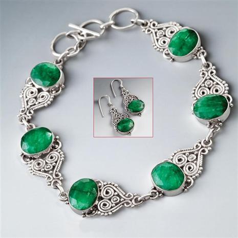 Castillo Emerald Bracelet & Earrings Set Stauer Online Discount