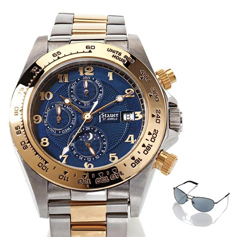 Stauer Corso Blue Dial Watch & Free Flyboy Sunglasses