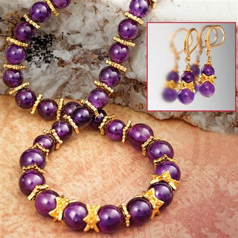 Tyrian Amethyst Necklace & Earrings Set
