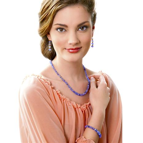 Merelani Tanzanite Necklace, Bracelet & Earrings Set