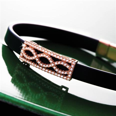 Rose Gold Finished Infinity Diamondaura Bracelet Stauer Online Discount