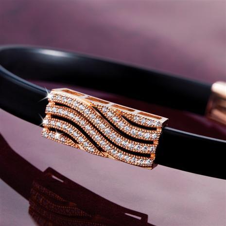 Rose Gold Finished Wave Diamondaura Bracelet Stauer Online Discount