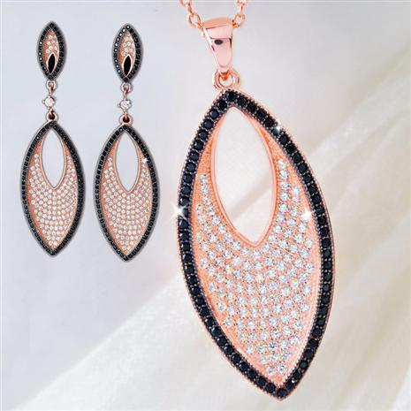 ROSE GOLD-FINISHED DIAMONDAURA® NECKLACE & EARRINGS