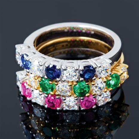 Set Of 3 Emerald, Ruby & Sapphire Rings Stauer Online Discount