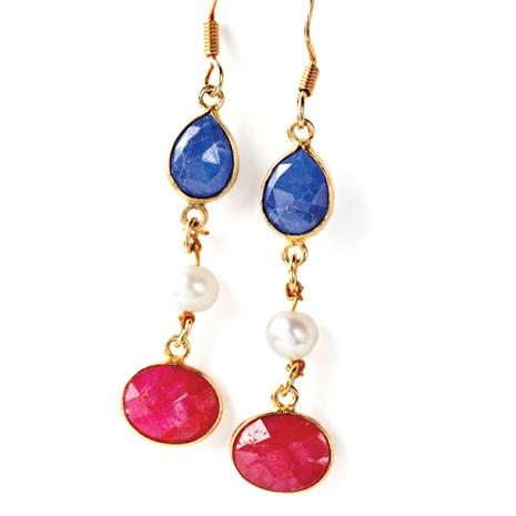 Dyed Ruby, Sapphire & Pearl Earrings Stauer Online Discount