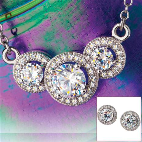 3 Stone Diamondaura® Necklace & Earrings Set