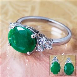 Isle Emerald Earrings & Ring Set