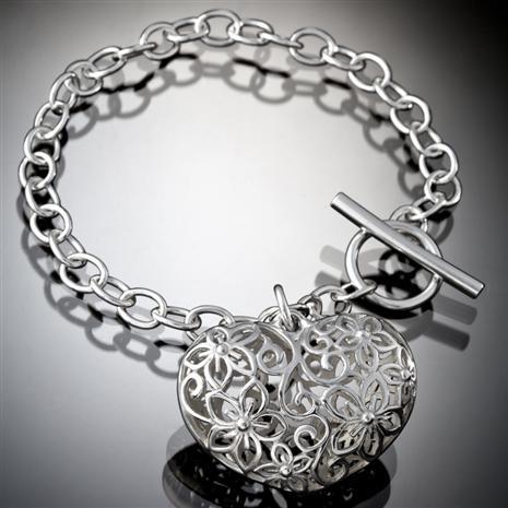 Sterling Silver Open Heart Bracelet Stauer Online Discount