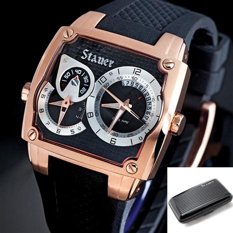 Stauer Mens Volante Noire Watch & Aluminum Wallet Stauer Online Discount