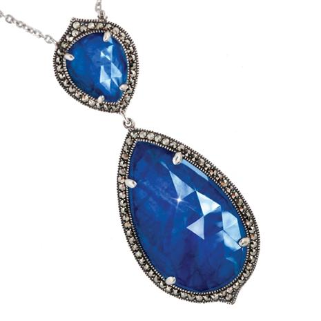 SILVER PEAR SHAPED SAPPHIRE NECKLACE