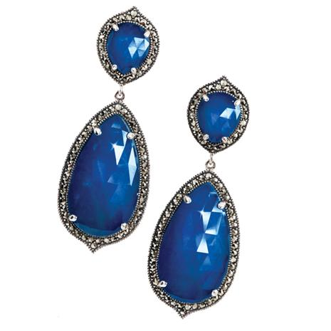 Fidelity Doublet Sapphire and Marcasite Earrings