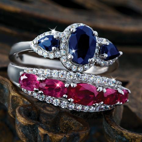 Amoris Sapphire & Ruby Ring Set Stauer Online Discount