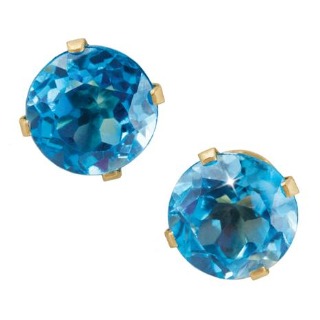 14K Yellow Gold Blue Topaz Stud Earrings Stauer Online Discount