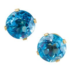 14K Yellow Gold Sempre Blue Topaz Stud Earrings
