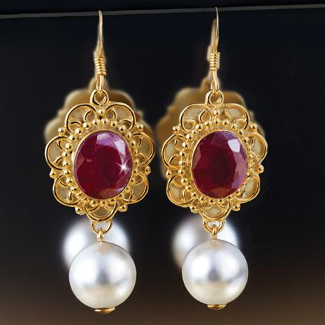 TITAN LA BELLA RUBY & PEARL EARRINGS