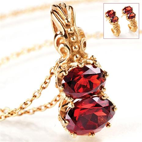 Ever After Garnet Necklace & Earrings Set