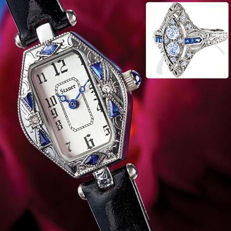 Art Deco Watch and Ring Set