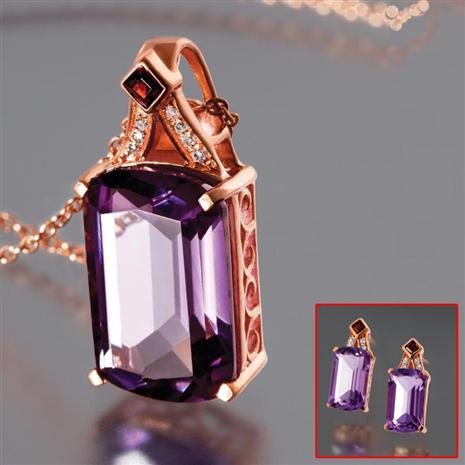 Artesia Amethyst Necklace & Earrings W/ Coupons Stauer Online Discount