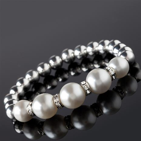 Bola White Shell Pearl Bracelet Stauer Online Discount