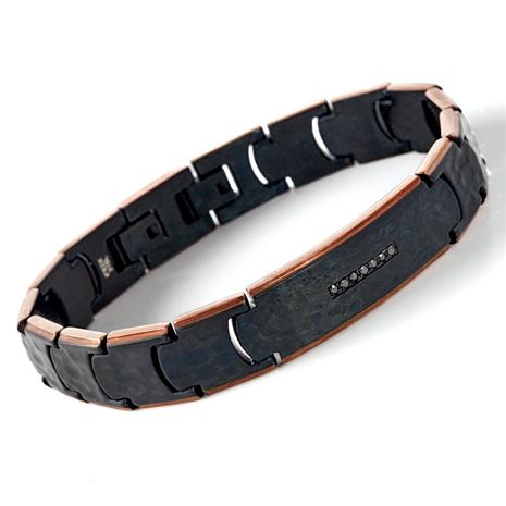 MEN'S CHEVALIER HAMMERED STEEL BLACK BRACELET