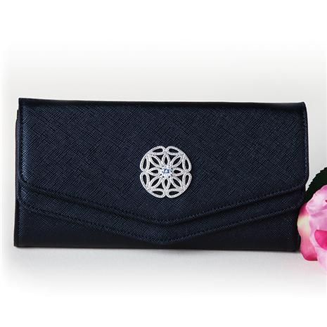 BLACK LEATHER CLUTCH WITH DIAMONDAURA® MEDALLION