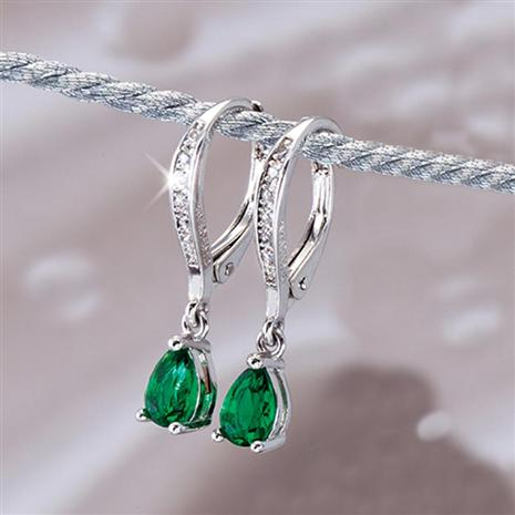 DiamondAura Navidad Emerald Green Earrings