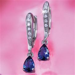 Diamond<em>Aura</em>&reg; Navidad Sapphire Blue Earrings